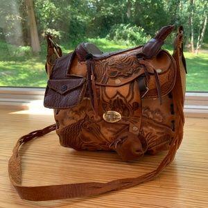 Vintage Western Tooled Leather Saddle Shoulder Bag